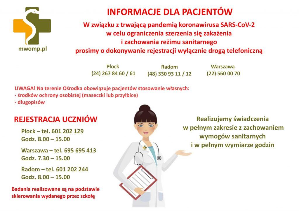 infografika na temat informacji dla pacjentów odnośnie przyjmowania interesantów podczas pandemii
