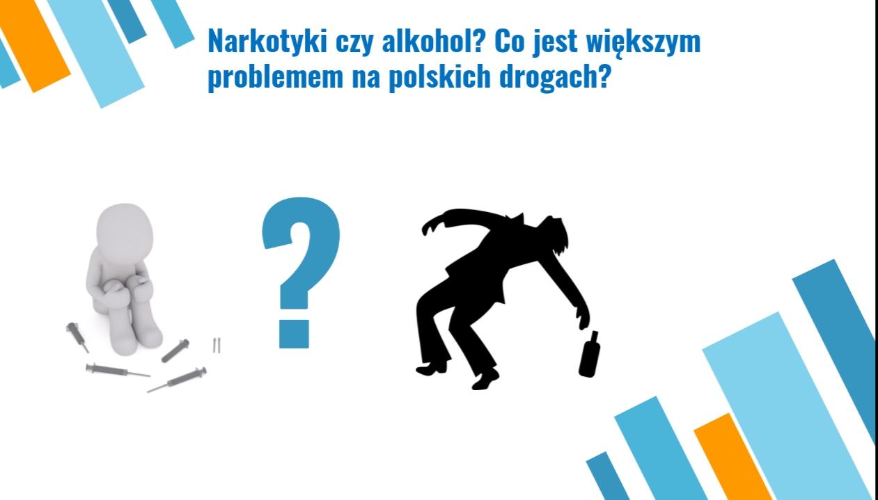 logotyp z napisem 'narkotyki czy alkohol? co jest wiekszym problemem na polskich drogach?'