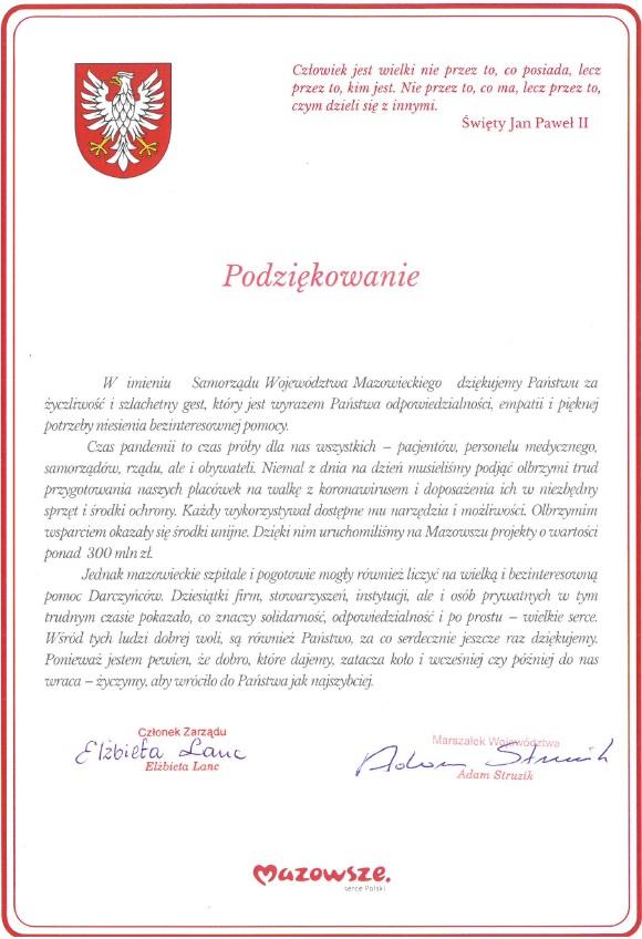 skan oficjalnych podziękowań w imieniu Samorządu Województwa Mazowieckiego