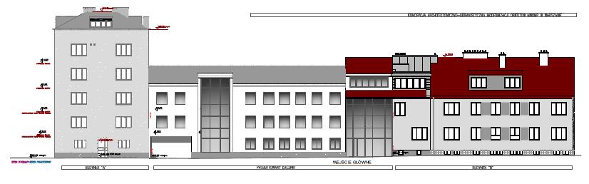 rzut boczny projektu inwestycji w oddziale mwomp w Warszawie