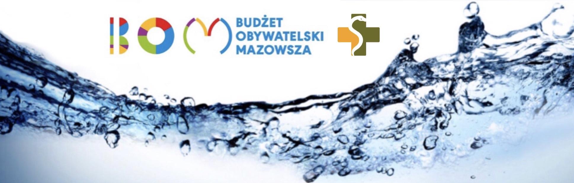 Grafika: woda a na górze logo budżetu obywatelskiego mazowisza i MWOMP