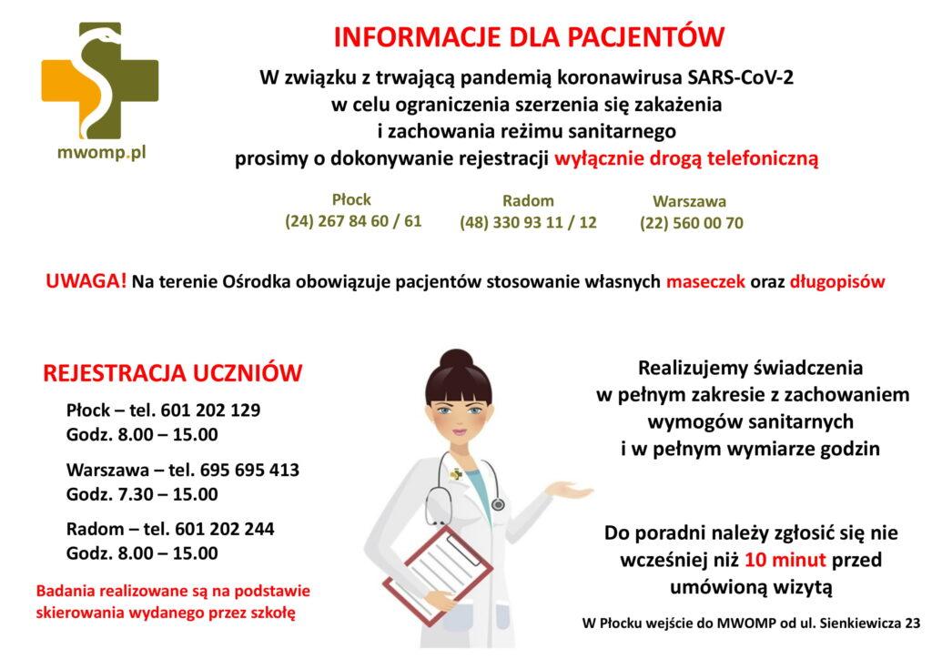 ikonografika z informacjami dla pacjentów