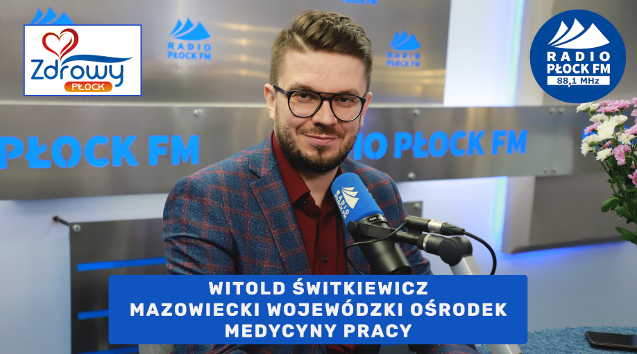 pracownik mwomp Witold Świtkiewicz w radiu plock fm, na dole napis