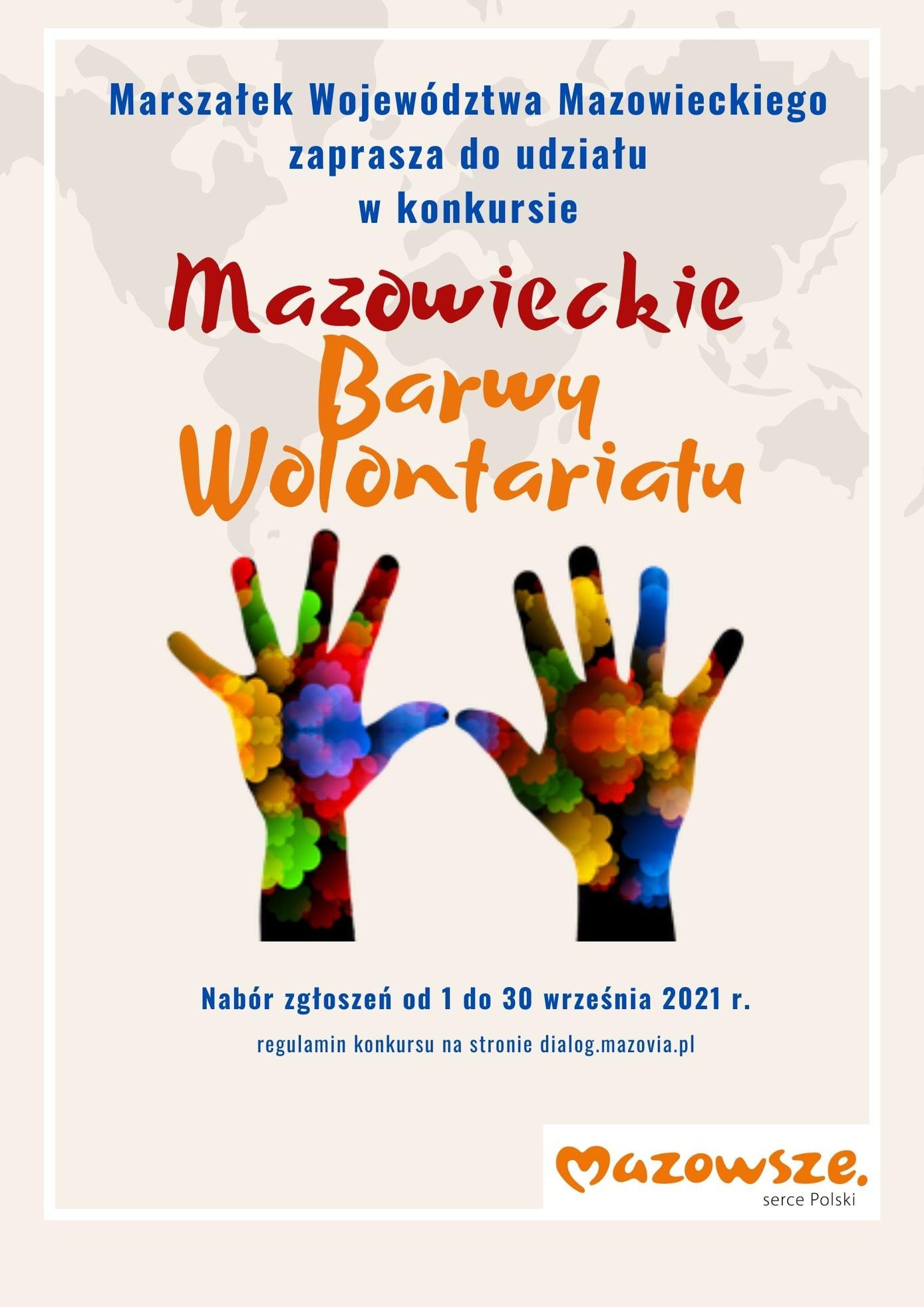 plakat nt konkursu pt Mazowieckie Barwy Wolontariatu